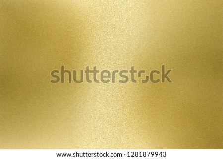 Light shining on rough gold metal wall texture, abstract background #1281879943