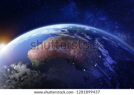 Australia from space at night with city lights of Sydney, Melbourne and Brisbane, view of Oceania, Australian desert, communication technology, 3d render of planet Earth, elements from NASA #1281899437