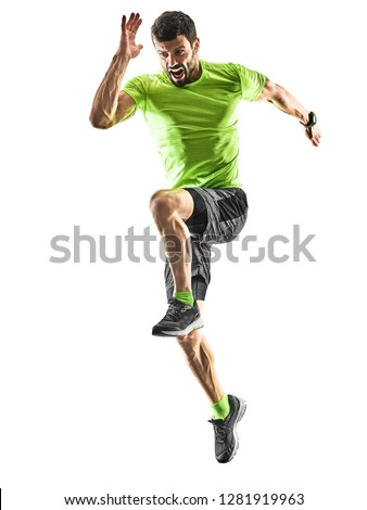 one caucasian man runner running jogging jogger silhouette isolated on white background #1281919963