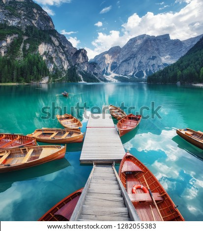 Lago di Braers lake, Dolomite Alps, Italy. Boats on the lake. Landscape in the Dolomite Alps, Italy. Pragser Wildsee - Image #1282055383