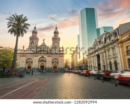 Plaza de Armas Square and Santiago Metropolitan Cathedral at sunset - Santiago, Chile #1282092994