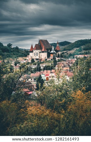 Beautiful medieval architecture of Biertan fortified church in Sibiu, Romania protected by Unesco World Heritage Site #1282161493