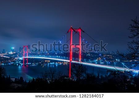 Istanbul Bosphorus Bridge at night. 15th July Martyrs Bridge (15 Temmuz Sehitler Koprusu). Istanbul, Turkey. #1282184017