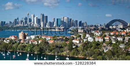 Sydney Harbor panorama shot from a unique private rooftop which is not accessible to the public #128228384