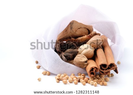 Chinese Spices and herbs for pork stew and make soup on white background. #1282311148