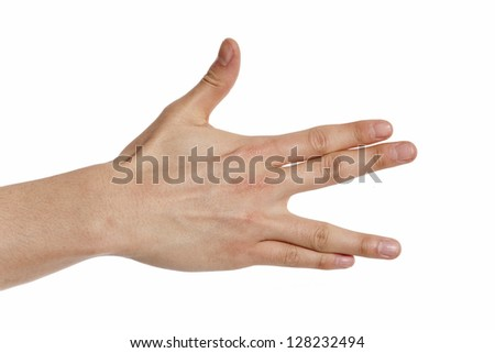 hand shoving a vulcan greeting sign  isolated on white background