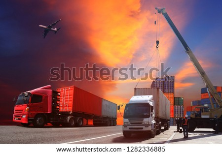 Transportation, import-export, commercial logistic, shipping business industry, container truck, ship in port and freight cargo plane  #1282336885