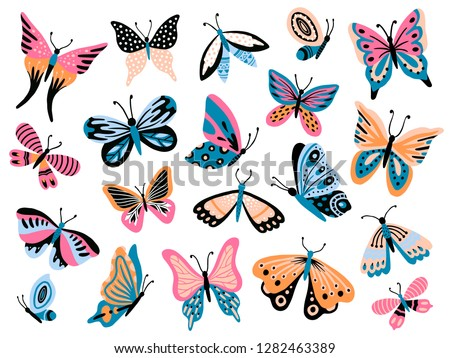 Hand drawn butterfly. Flower butterflies, moth wings and spring colorful flying insect. Drawing flying papillon butterfly isolated vector collection