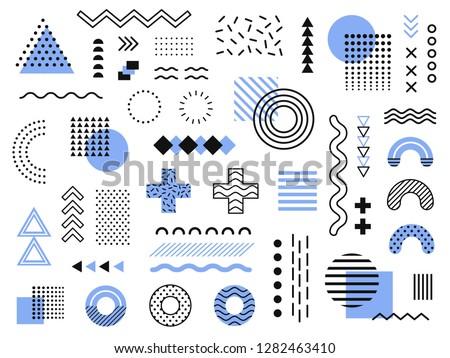 Memphis design elements. Retro funky graphic, 90s trends designs and vintage geometric print illustration element. Constructivism memphis vector isolated symbols collection #1282463410