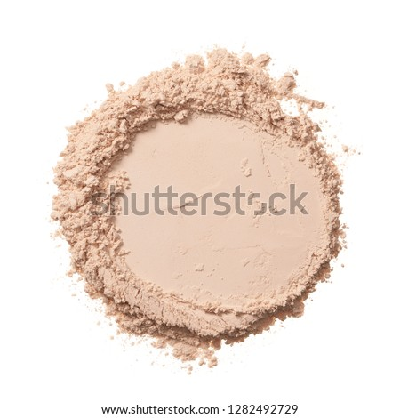 Texture of pearl white eye shadow isolated on white background. Macro texture of broken white powder #1282492729