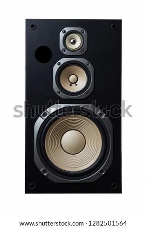 High quality loudspeakers.Hifi sound system in shop for sound recording studio.Professional hi-fi cabinet speaker box.Audio equipment for record studios.Buy dj equip in music store #1282501564
