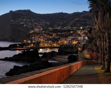 Câmara de Lobos in Madeira, Portugal, during sunset, night, evening, harbour town, fishing, romantic, palms, lights, sea, ocean, port, marine, Ponta do sol, relax, meditation, quiet, peace #1282507348