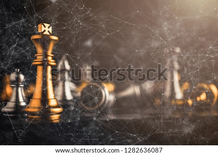 business strategy brainstorm chess board game with hand touch black background with free copy space for your text #1282636087
