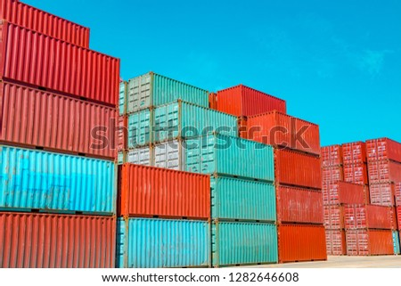 Container logistics transportation. Container terminal. #1282646608