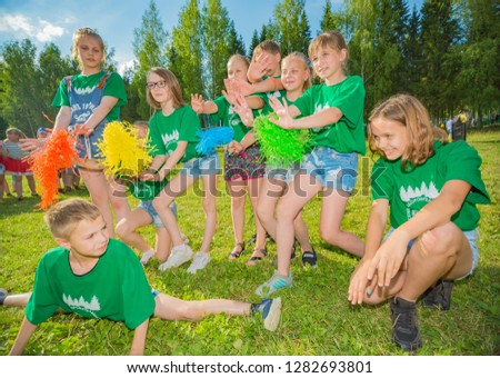 """A group of children dancing in the street.Dance competition. Editorial. Russia, Yaroslavl region. """"Sahares"""" 29.06.2018 #1282693801"""