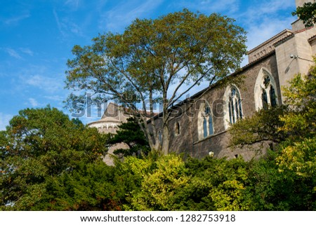 New York, USA - October 12, 2010: scenic view of a facade with gothic bows of the Cloisters in Tryon Park on a sunny day with deep blue sky and idyllic trees #1282753918