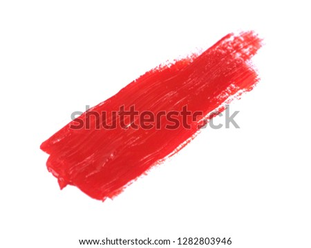 Red acrylic paint stroke isolated on white background, abstract art concept #1282803946