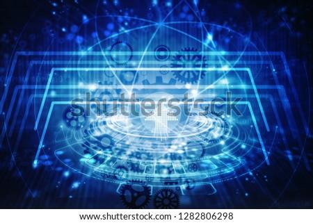 2d illustration technology background #1282806298