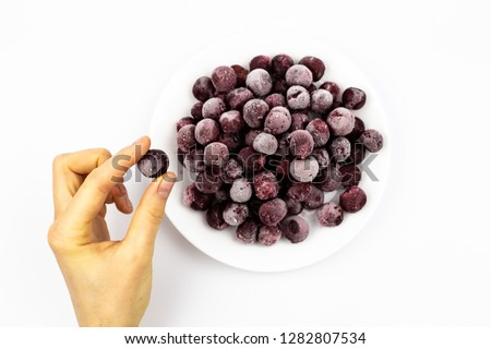 ripe frozen cherry on white frost frost frost frost fruit red #1282807534