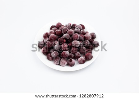 ripe frozen cherry on white frost frost frost frost fruit red #1282807912