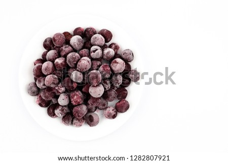 ripe frozen cherry on white frost frost frost frost fruit red #1282807921