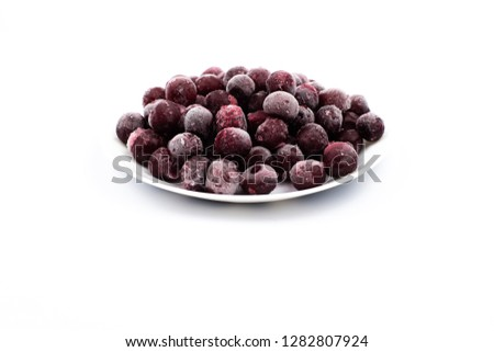 ripe frozen cherry on white frost frost frost frost fruit red #1282807924