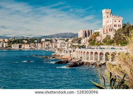 View of  Genoa, port city in northern Italy Royalty-Free Stock Photo #128303096