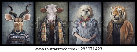 Animals in clothes on vintage style. People with heads of animals. Concept graphic, photo manipulation for cover, advertising, prints on clothing and other. Antelope, cow, dog, tiger. #1283071423