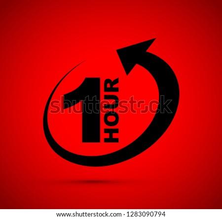 One hour arrow icon #1283090794