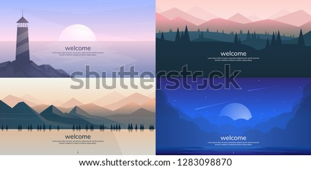 Vector landscapes in a minimalist style #1283098870