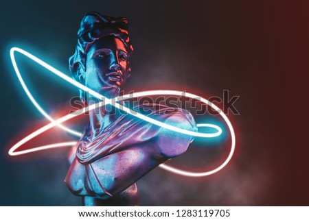 Style statue background neon concept. 3D rendering. #1283119705