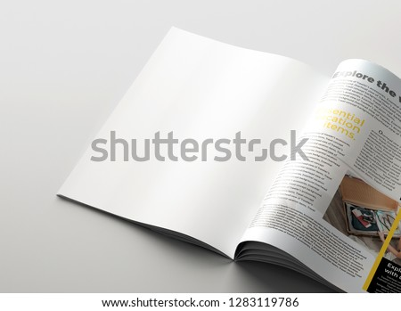 Magazine mockup background concept. Clean page background. 3D rendering. #1283119786