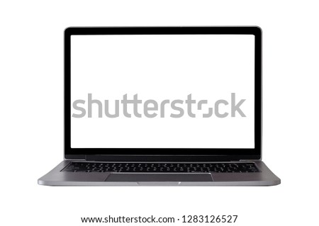 Mock up laptop devices isolated white background. personal computer notebook with empty screen. white,blank copy space for use. #1283126527