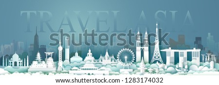 Travel Asian architecture culture in capital city with symbol and modern building, Traveling cityscape and ancient, Tour Asia archaeological site, Paper cut and paper origami style,Vector illustration #1283174032