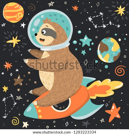 Smiling cute baby sloth astronaut sits on the rocket and flying in the open space among stars, moon, planets. Adorable animal illustration in the childish style. Vector cartoon funny sloth in a helmet