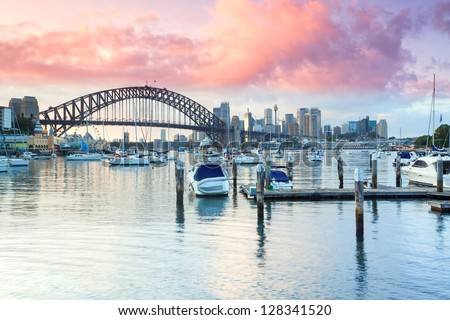 Looking towards Sydney Harbour Bridge from Lavender Bay Royalty-Free Stock Photo #128341520