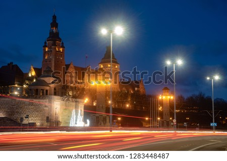 Szczecin,Poland-December 2018:Night  of Old Town in Szczecin (Stettin) City #1283448487