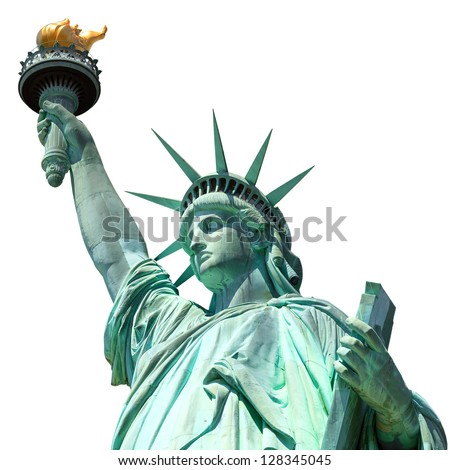 statue of liberty, new york, usa, isolated Royalty-Free Stock Photo #128345045