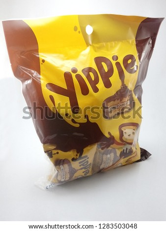 MANILA, PH - JAN. 14: Yippie chocolate marshmallow cake on January 14, 2019 in Manila, Philippines. Yippe brand is a manufacturer of food products. #1283503048