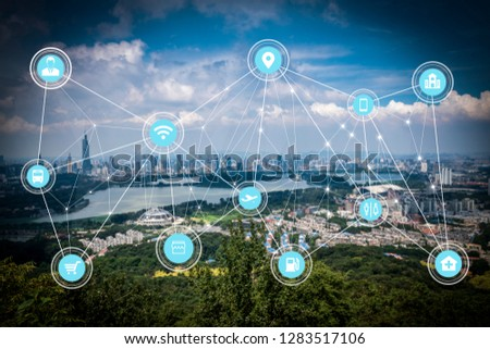 5G network wireless systems and internet of things with modern city skyline #1283517106