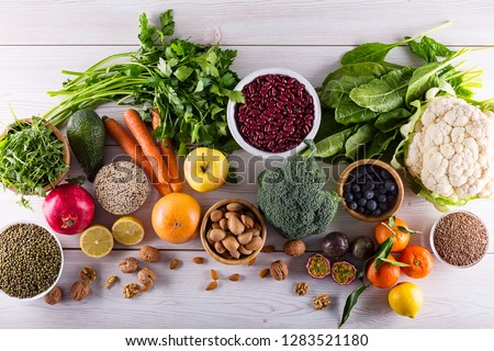 Top view of selected healthy and clean foods #1283521180