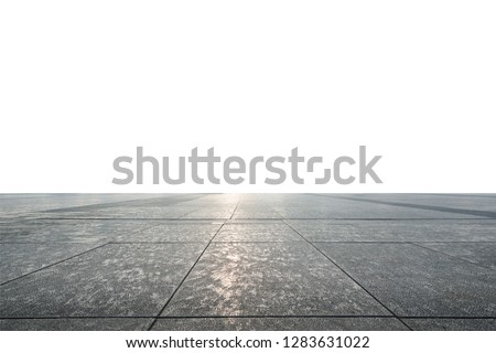 Perspective View of Monotone Grunge Cracked Gray Brick Marble Stone on The Ground for Street Road. Sidewalk, Driveway, Pavers, Pavement in Vintage Design Flooring Square Pattern Texture Background #1283631022