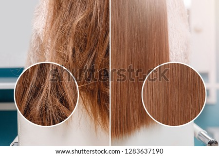 Sick, cut and healthy hair care straightening. Before and after treatment. #1283637190