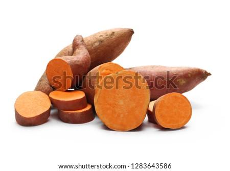 Sweet potato slices isolated on white background #1283643586