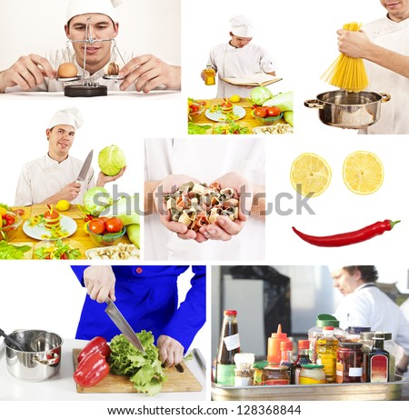 Collage of a handsome man cooking and eating some vegetables at the kitchen #128368844