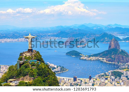 Aerial view of Rio de Janeiro with Christ Redeemer and Corcovado Mountain. Brazil. Latin America, horizontal Royalty-Free Stock Photo #1283691793