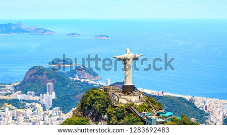 Aerial view of Rio de Janeiro with Christ Redeemer and Corcovado Mountain. Brazil. Latin America, horizontal #1283692483
