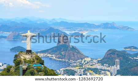 Aerial view of Rio de Janeiro with Christ Redeemer and Corcovado Mountain. Brazil. Latin America, horizontal #1283692720