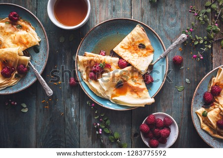 French Crepe Suzette for Chandeleur Royalty-Free Stock Photo #1283775592