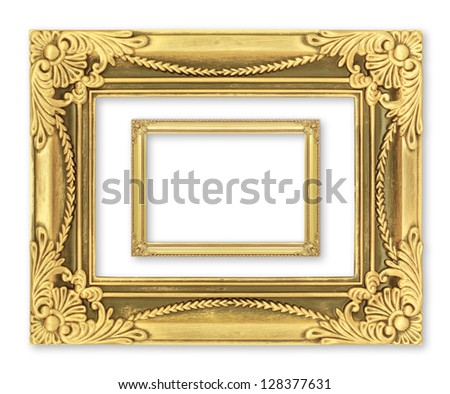 The antique gold frame on the white background #128377631